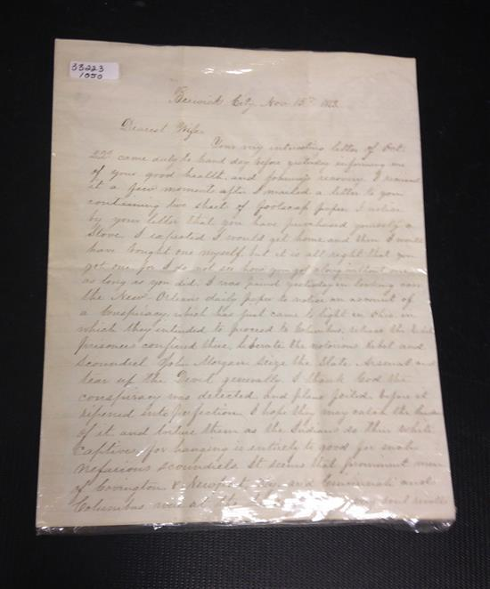 CIVIL WAR SOLDIER'S LETTER TO HIS WIFE DATED NOV. 15TH, 1863, FROM GENERAL JOHN MORGAN. LETTER REFERS TO TRAITORS BEING HELD IN COLU..