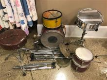 PARTIAL DRUM SET AND EXTRA DRUMS