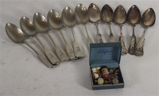 LOT INCLUDING TWO TYPES OF CHAMFERED SPOONS AND SMALL 10KT GOLD PIN. SIX MONOGRAMMED SPOONS FROM NEVADA SILVER METAL, FIVE HEAVILY T...