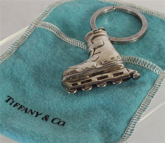 TIFFANY & COMPANY STERLING SILVER KEYRING WITH LARGE STERLING INLINE SKATE CHARM. 1.545 TROY OUNCES TW.