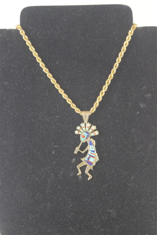 14KT YELLOW GOLD SOUTHWESTERN STYLE FIGURAL PENDANT ON 24