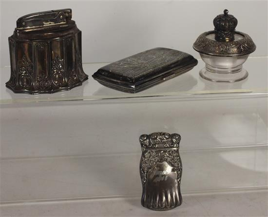 LOT OF STERLING SMOKING ACCESSORIES INCLUDING: ENGRAVED MATCH CANISTER, TWO DESK LIGHTERS, AND A SILVER CIGARETTE CASE WITH ASIAN MO...
