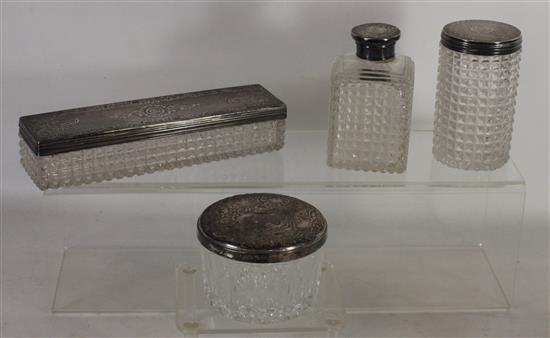 FOUR STERLING AND GLASS PIECES INCLUDING: 7