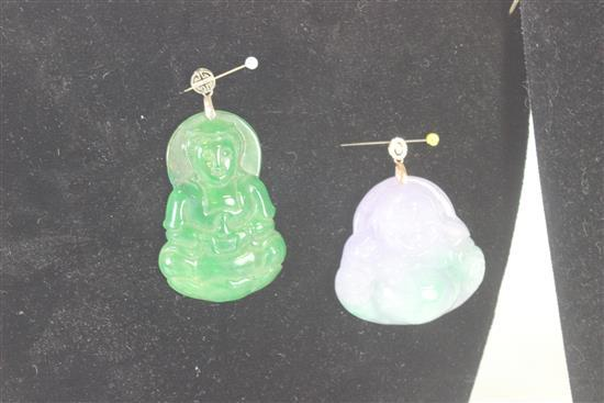 BOX LOT ORIENTAL ACCESSORIES INCLUDING: TWO CARVED BUDDHA PENDANTS WITH STERLING SILVER BAILS, TWO CARD PENDANTS IN BIRD MOTIF, AND...