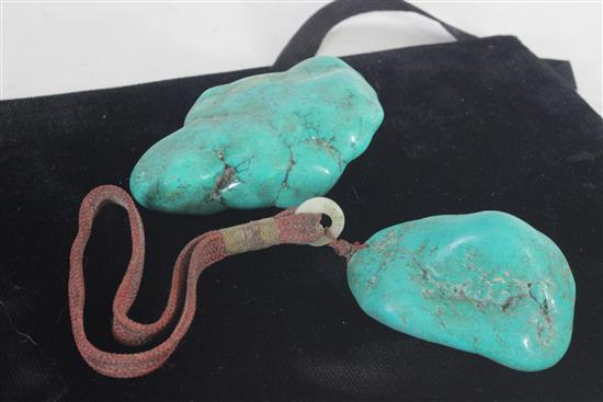 TWO LARGE UNCUT TURQUOISE CHUNKS. 310.0 GRAMS TW.