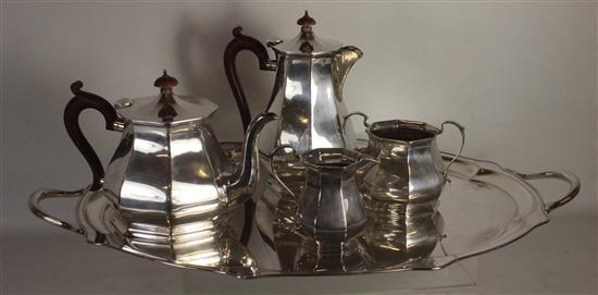 FOUR PIECE ALEXANDER CLARK COMPANY STERLING SILVER TEA SET WITH UNMATCHED E.P.N.S. HANDLED TRAY. SET INCLUDES TWO PITCHERS AND MATCH...