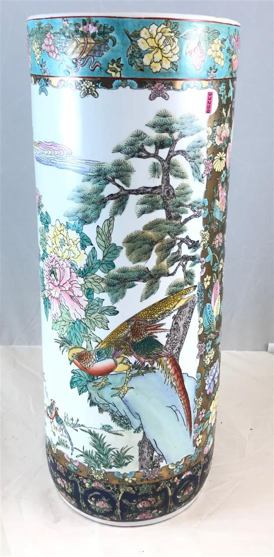 ASIAN PORCELAIN UMBRELLA STAND WITH BIRD AND FLORAL DECORATION, 11.5