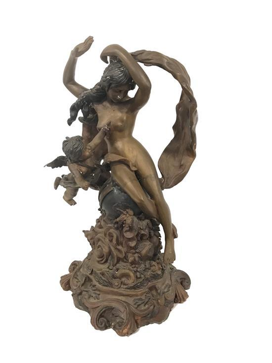 ART NOUVEAU BRONZE FIGURE OF NUDE WITH CHERUB. 26