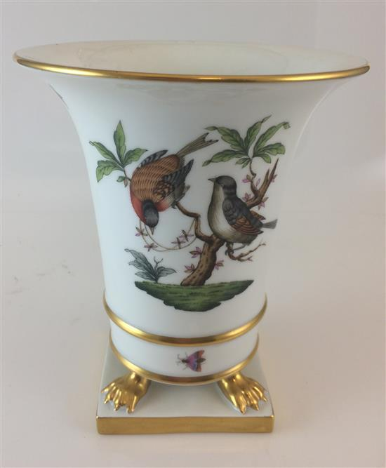 HEREND FOOTED VASE WITH BIRD MOTIF, 7.25