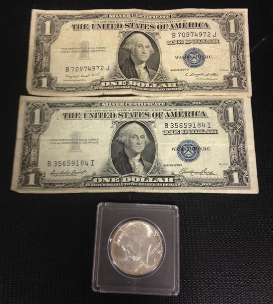 MIXED LOT INCLUDING 2 SERIES 1935 DOLLAR SILVER CERTIFICATES AND 1964 KENNEDY HALF DOLLAR