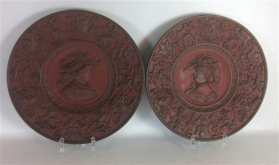 PAIR ANTIQUE CHARGERS, SIGNED