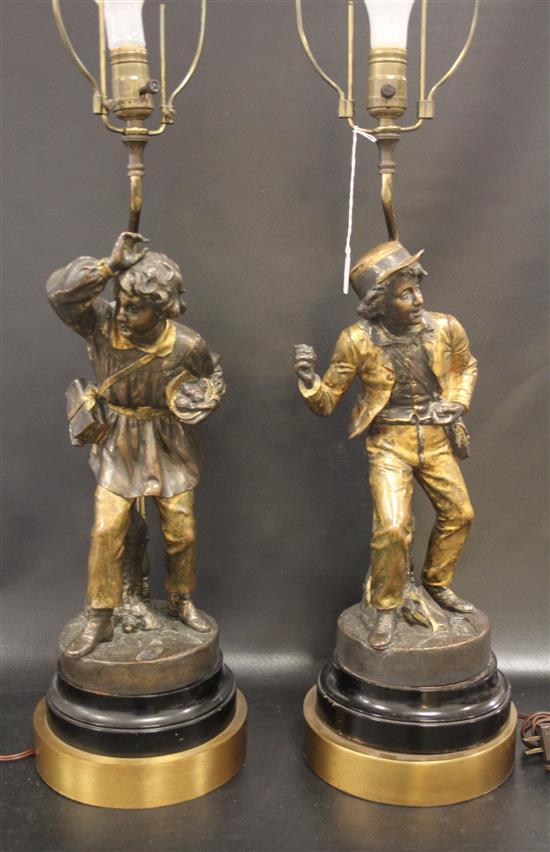 2 CAST METAL FIGURAL TABLE LAMPS, 25