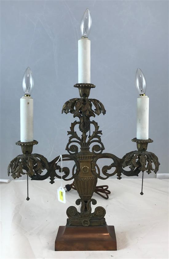 TIFFANY CO PARIS BRONZE 3-LIGHT ELECTRIC CANDELABRA WITH COPPER BASE, 18