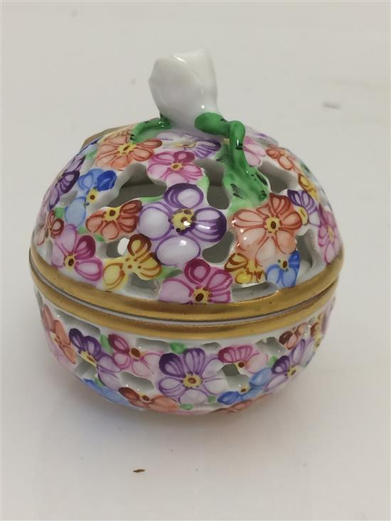 HEREND TRINKET BOX WITH FLORAL DECOR AND OPENWORK, 2.5