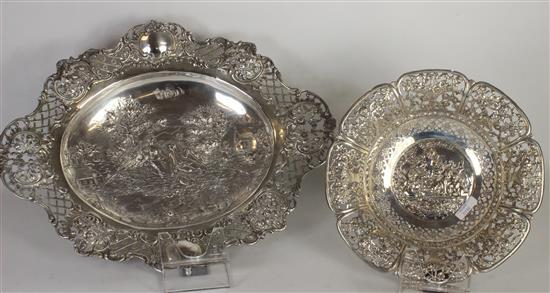 TWO PIECES SILVER TONE OPENWORK HOLLOWARE 8