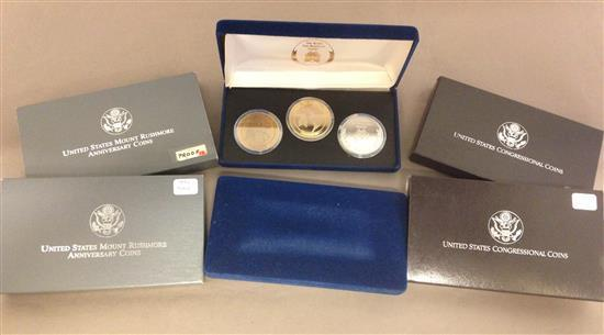 MIXED LOT INCLUDING (2) 1989 U.S. CONGRESSIONAL 2-COIN COMMEMORATIVE SETS (PROOF AND UNC), (2) 1987 THE TENTH PAN AMERICAN GAMES COM...