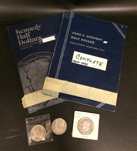 LOT U.S. KENNEDY HALF DOLLARS INCLUDING 2 WHITMAN ALBUMS 1964-2003 (COMPLETE) AND 3 LOOSE COINS