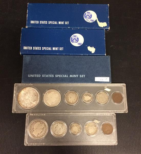 MIXED LOT INCLUDING 1896 AND 1906 U.S. TYPE SETS (NO SILVER DOLLAR IN 1906 SET) AND 1966 AND (2) 1967 U.S. SPECIAL MINT SETS