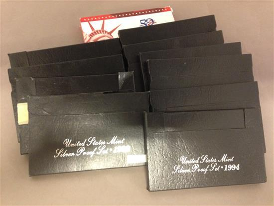 11 U.S. MINT SILVER PROOF SETS INCLUDING 1992, (2) 1993, (2) 1994, (2) 1995, 1996, 1997, 1998, AND 2003