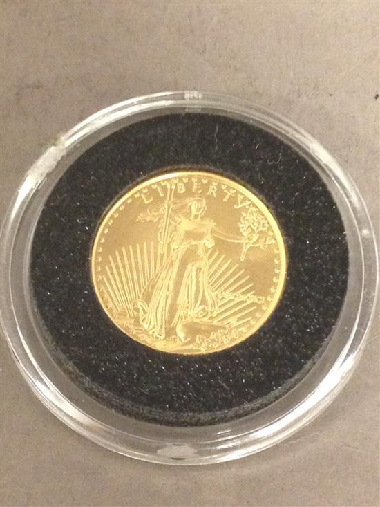 †1991 $5 AMERICAN GOLD EAGLE, .917 GOLD, 3.39g *tax exempt*