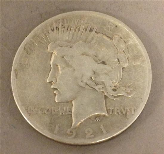 †1921 PEACE SILVER DOLLAR *tax exempt*
