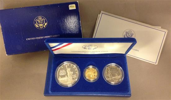 1986 U.S. 3-COIN LIBERTY PROOF SET INCLUDING $5 GOLD, $1 SILVER, AND CLAD HALF DOLLAR