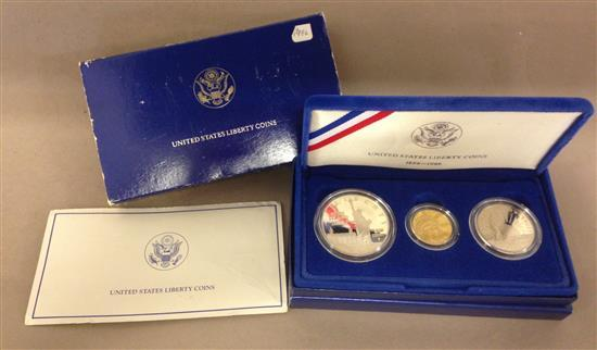 1986 U.S. 3-COIN LIBERTY PROOF SET INCLUDING $5 GOLD, SILVER DOLLAR, AND CLAD HALF DOLLAR