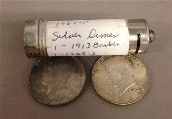 †MIXED LOT INCLUDING (2) 1964 KENNEDY HALF DOLLARS AND COIN BANK WITH SILVER DIMES *tax exempt*