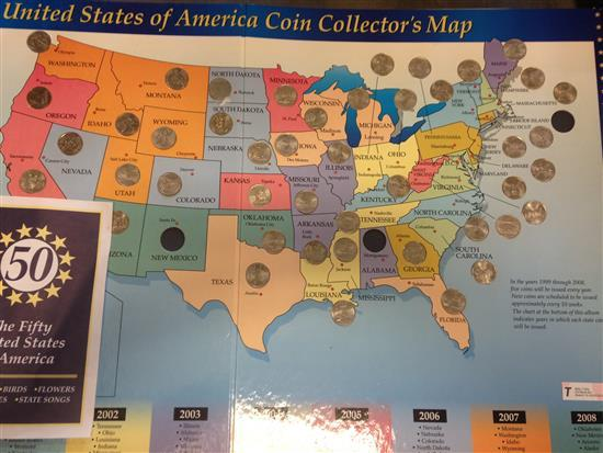 U.S. STATE COIN COLLECTOR'S MAP WITH 47 QUARTERS