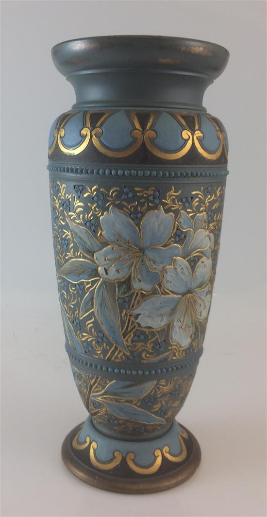 DOULTON LAMBETH FOOTED 11.5 VASE WITH FLORAL AND GOLD DECORATION