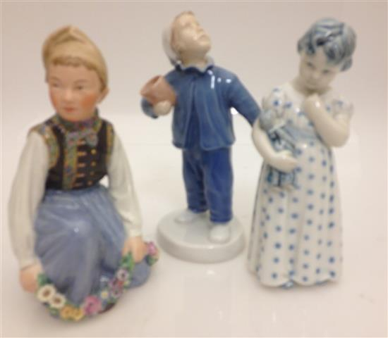 3 FIGURINES INCLUDING ROYAL COPENHAGEN GIRL WITH DOLL #3539 AND
