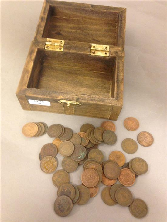 WOODEN TREASURE CHEST WITH 60 INDIAN HEAD CENTS