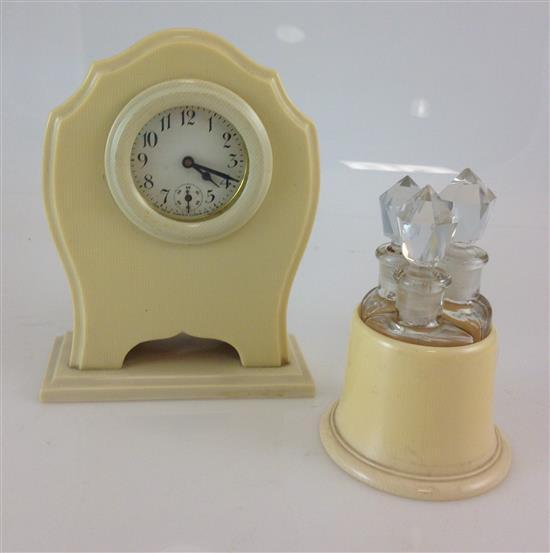 FRENCH DU BARRY IVORY PYRALIN CELLULOID DESK CLOCK AND IVALEUR CELLULOID CADDY WITH 3 PERFUMES