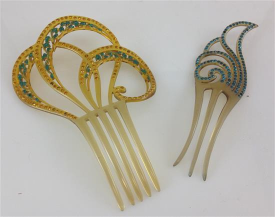 2 VINTAGE CELLULOID BEJEWELED HAIR COMBS - 5.25
