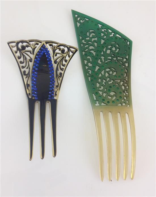 2 VINTAGE CELLULOID BEJEWELED HAIR COMBS - 5
