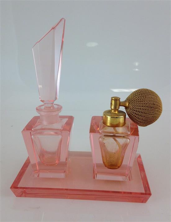 ART DECO PINK GLASS VANITY SET WITH CADDY, PERFUME AND ATOMIZER BOTTLES, 5.25