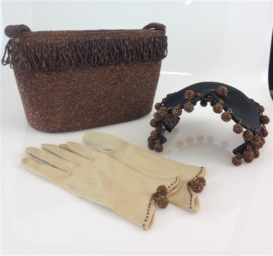 VINTAGE PURSE, HAT, AND GLOVE SET WITH BROWN BEADING