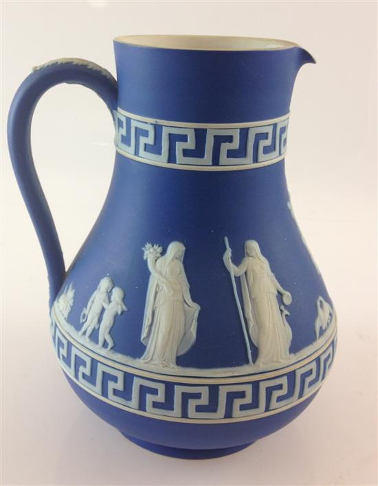 WEDGWOOD COBALT JASPERWARE PITCHER WITH CLASSICAL FIGURES, INCISED MARK, 7
