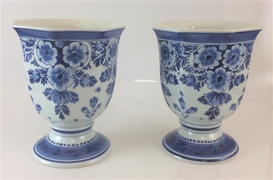 PAIR DELFT FOOTED PLANTERS, 7