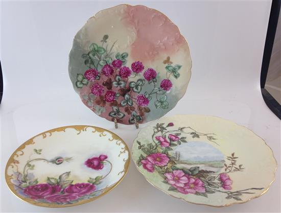3 HAND PAINTED LIMOGES PLATES INCLUDING 7.25