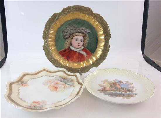 3 HAND PAINTED PLATES INCLUDING 8.75