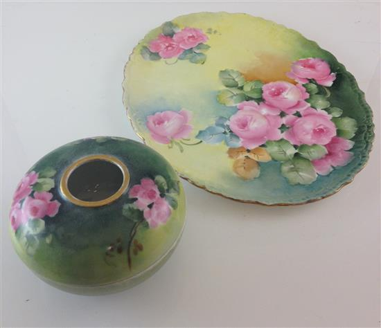 AK FRANCE HAIR RECEIVER WITH PINK FLOWERS AND LIMOGES 12