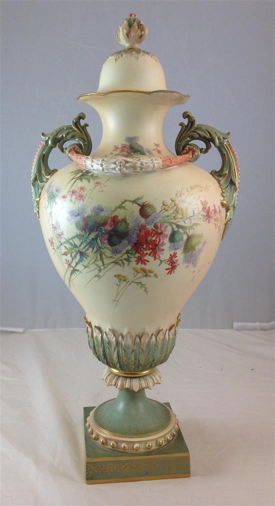 ROYAL WORCESTER URN NO. 298665, 1937 WITH FLORAL DECORATION, ACANTHUS SCROLL HANDLES, AND GARLAND, 28