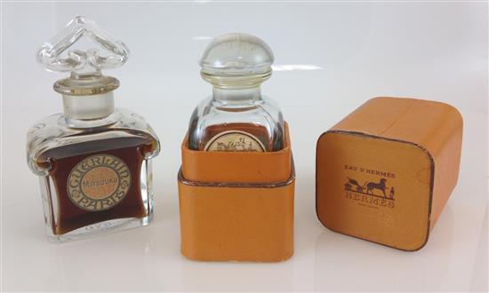 2 OZ EAU D'HERMES IN CASE, PRE-OWNED AND 2.5 OZ GUERLAIN MITSOUKI, SEALED