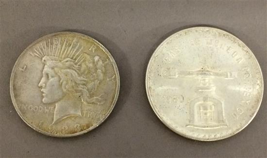 †MIXED LOT INCLUDING 1923 PEACE SILVER DOLLAR AND 1980 MEXICO 1 OZ. SILVER ROUND, .925 SILVER, 33.63g *tax exempt*