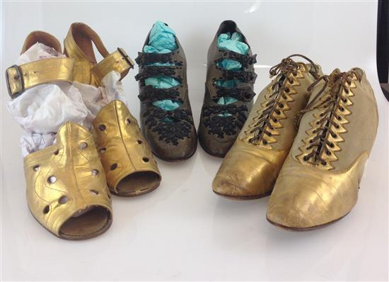 3 PAIRS LADIES VICTORIAN ERA SHOES INCLUDING GOLD OPEN TOE MADE IN HUNGARY, GOLD SLIPPER FROM B. HIMMERLRICH & SONS, PITTSBURGH AND...