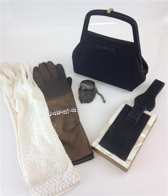 VINTAGE LOT OF WOMAN'S EVENING ACCESSORIES - BLACK PURSE, WHITE GLOVES, DUAL-COLORED GLOVES, WRIST STRAP COMPACT, STERLING SILVER ME..