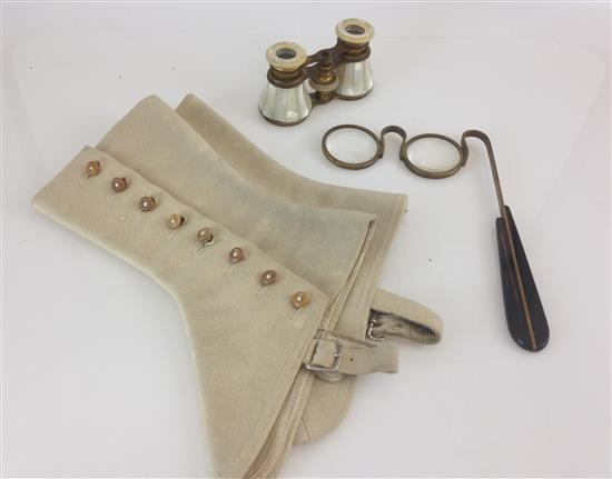 VINTAGE LOT INCLUDING MOTHER OF PEARL OPERA GLASSES, PAIR OF LORGNETTES, TAN WOOL SPATS