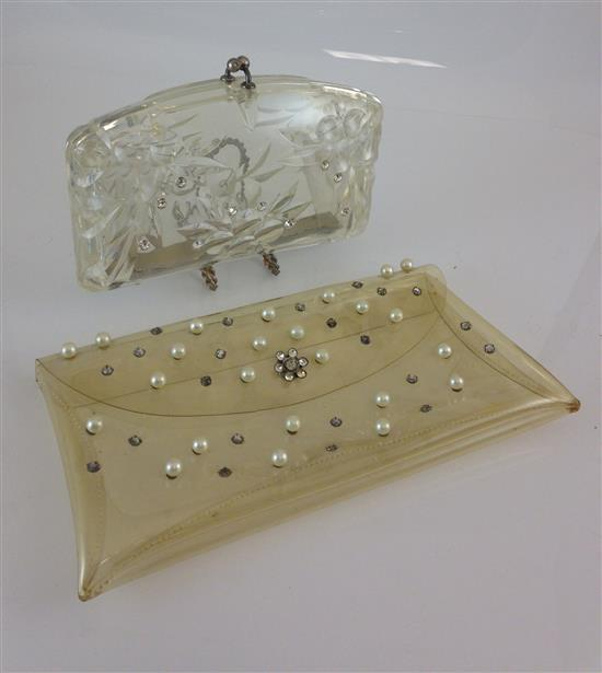 2 VINTAGE CLUTCH PURSES INCLUDING CLEAR LUCITE WITH RHINESTONE AND KISS LOCK CLASP AND PLASTIC WITH PEARL AND RHINESTONE DECOR
