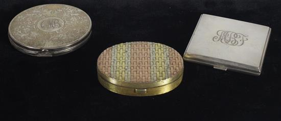 STERLING SILVER COMPACTS INCLUDING: MONOGRAMMED 3